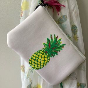 Sonoma Accessories - Sonoma white pineapple print sarong/scarf & pouch